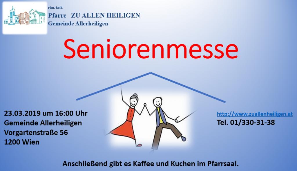 Einladung zur Seniorenmesse 23. März 2019 16 Uhr in der Pfarrkirche Allerheiligen